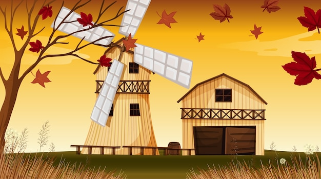 Farm scene in nature with barn and windmill in autumn season