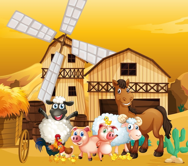 Farm scene in nature with barn and windmill and cute animal