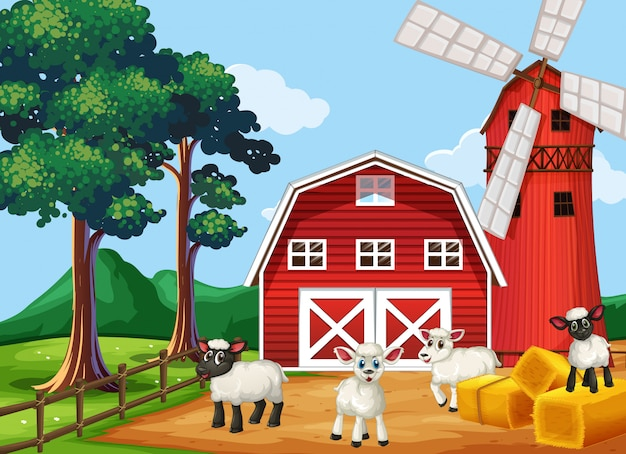 Farm scene in nature with barn and windmill and sheeps
