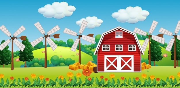 Farm scene in nature with barn and windmill