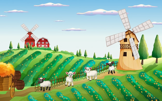 Farm scene in nature with windmill and sheeps