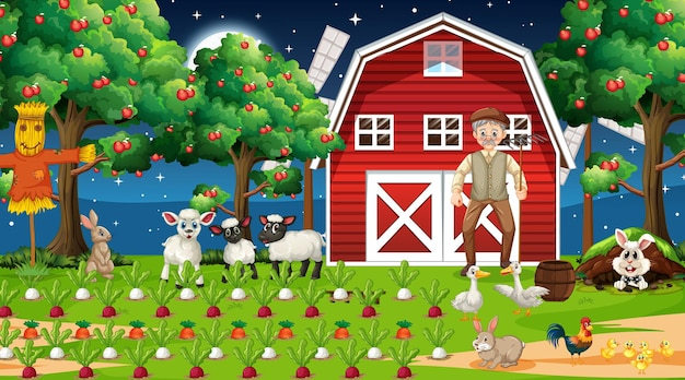 Farm scene at night with old farmer man and cute animals