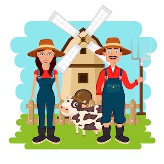 Farm scene organic products label