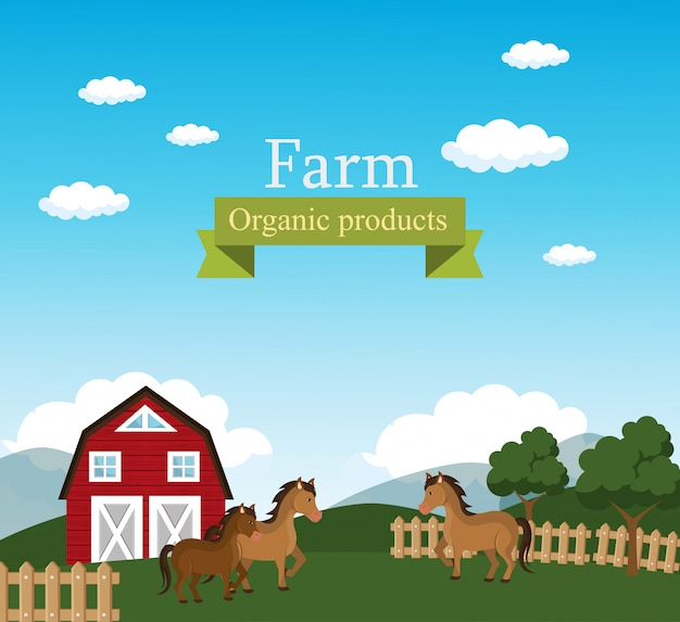 Farm scene organic products label