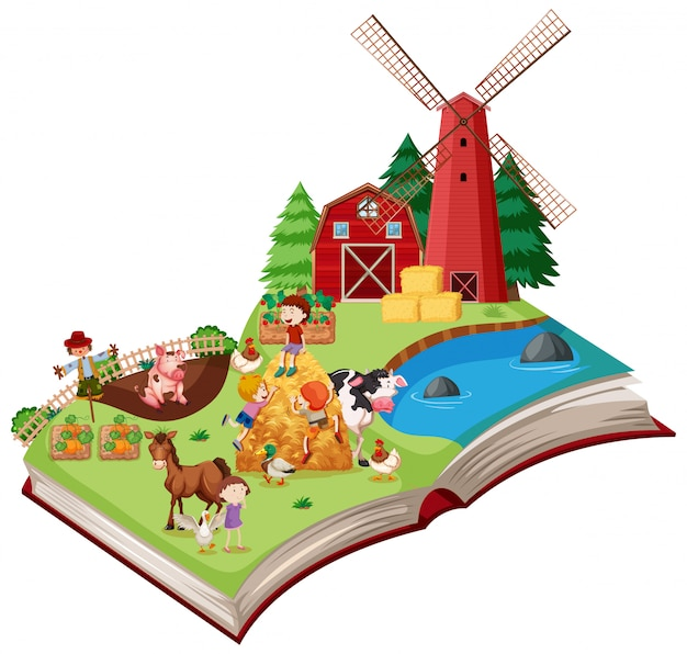 Farm scene pop up book