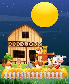 Ферма сцена с животноводческой фермы в ночном мультяшном стиле