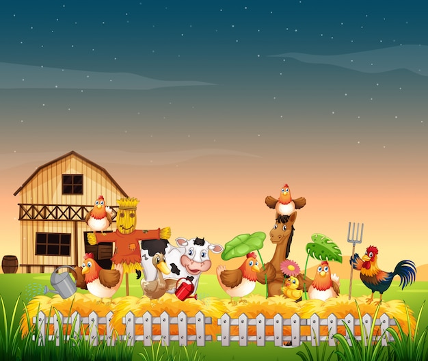 Farm scene with animal farm and blank sky