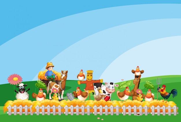Scena dell'azienda agricola con la fattoria degli animali e il cielo in bianco