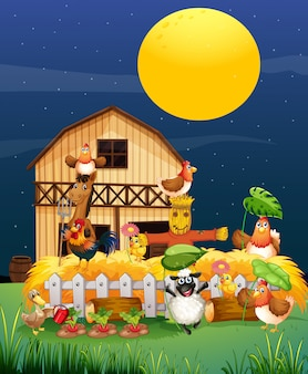 Farm scene with animal farm at night cartoon style