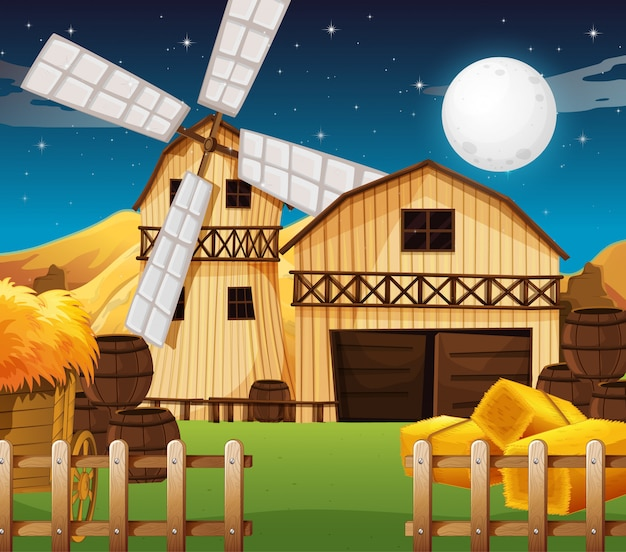 밤에 헛간과 밀 농장 현장