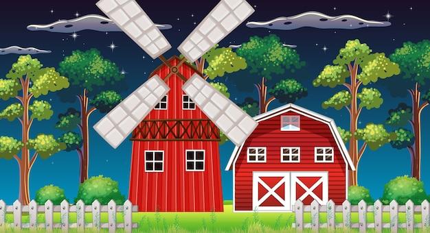 納屋とミルの夜の農場のシーン