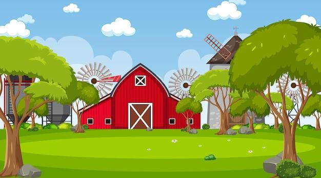 納屋と風車のある農場のシーン