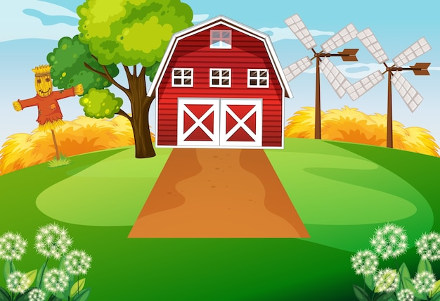 Farm scene with barn and wind mill