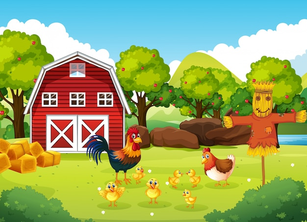 Farm scene with barn and windmill and chicken and scarerow