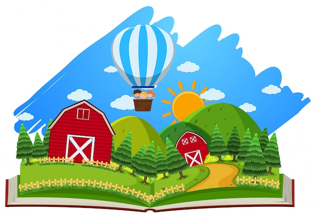 Farm scene with barns and balloon in the book