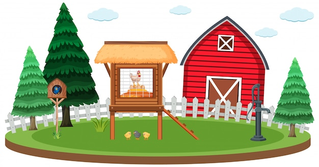 Farm scene with chicken coop and barn