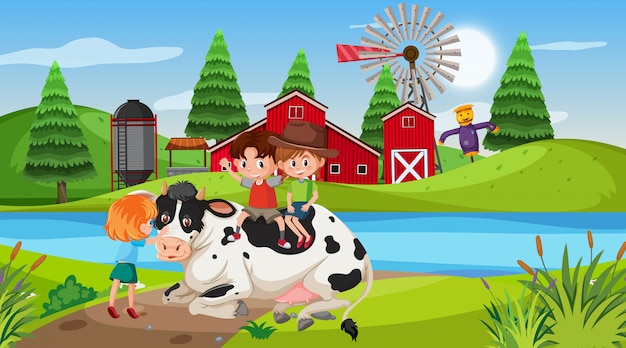 Farm scene with children and cow