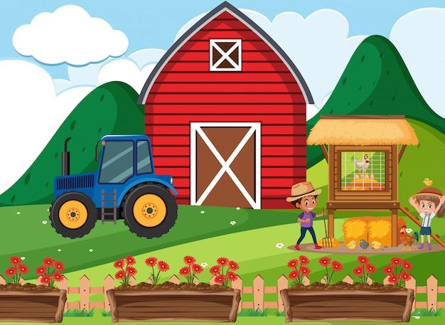 Фермерская сцена с детьми, работающими на ферме