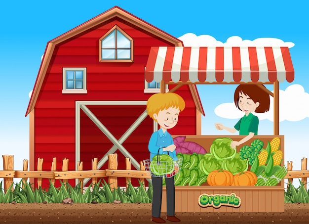 顧客と農家の果物屋の農場のシーン