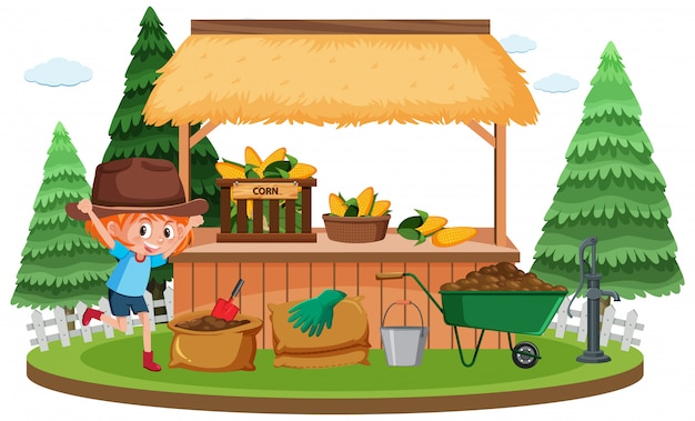 Farm scene with cute girl and fresh corns in the garden
