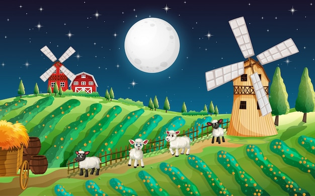 Сцена фермы с милой овцой и мельницей ночью