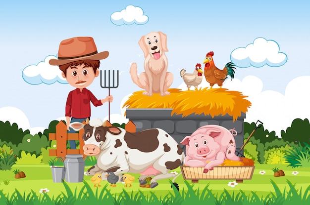 Фермерская сцена с фермером и животными на ферме