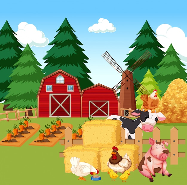 Farm scene with farm animals on the farm