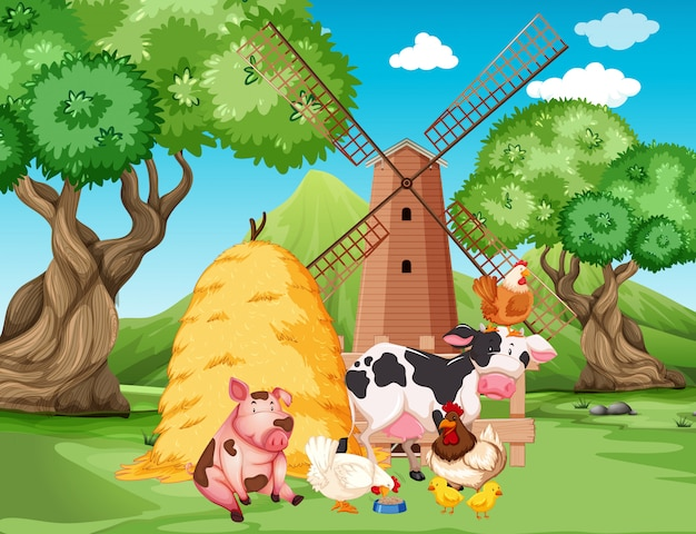 Farm scene with farm animals and windmill on the farm