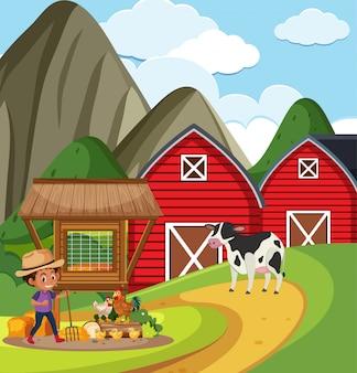 Farm scene with farmboy working on the farm
