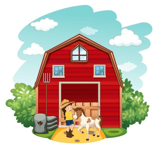農家と農場で馬と農場のシーン