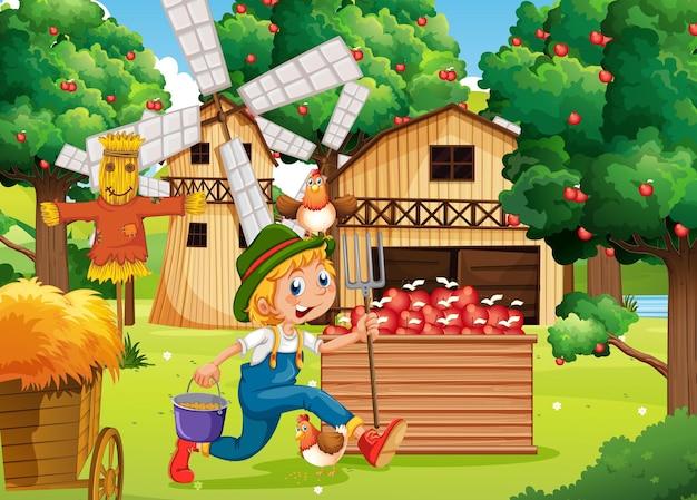 農家の少年の漫画のキャラクターと農場のシーン