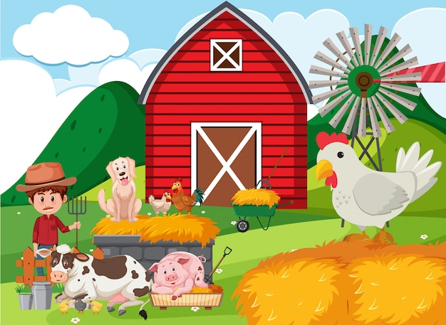 Farm scene with farmer and many animals on the farm