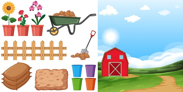 Farm scene with farmland and other farming items on the farm