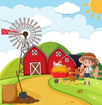 Фермерская сцена с девочкой и курами на ферме
