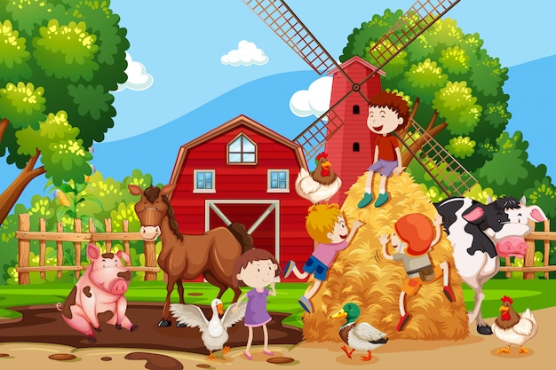 Farm scene with kids and animals
