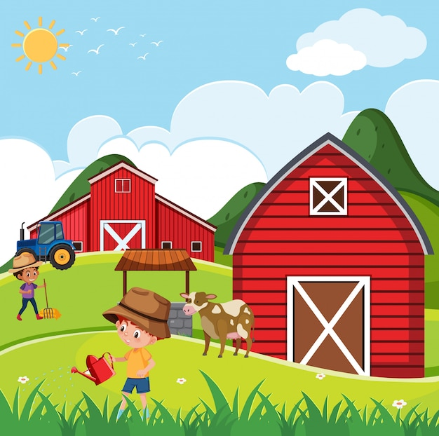 Ферма сцена с детьми, работающими на ферме