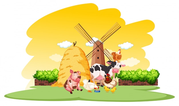 Farm scene with many animals on the farm