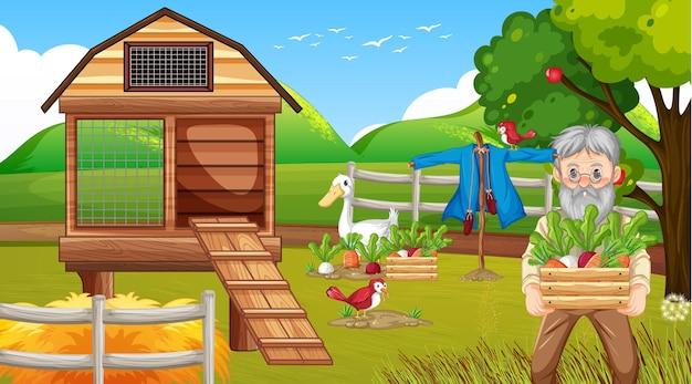 Сцена фермы со старым фермером и сельскохозяйственными животными