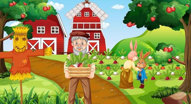 Сцена на ферме со старым фермером и сельскохозяйственными животными