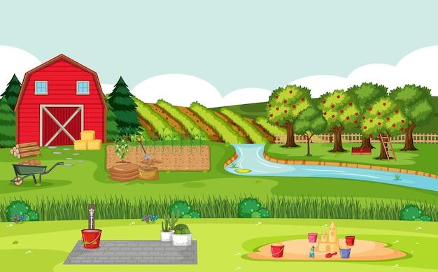 Scena dell'azienda agricola con fienile rosso nel paesaggio del campo