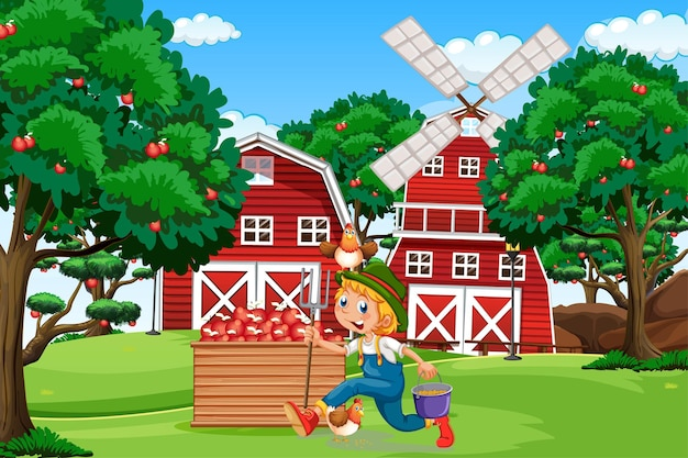 Farm scene with red barn and windmill illustration