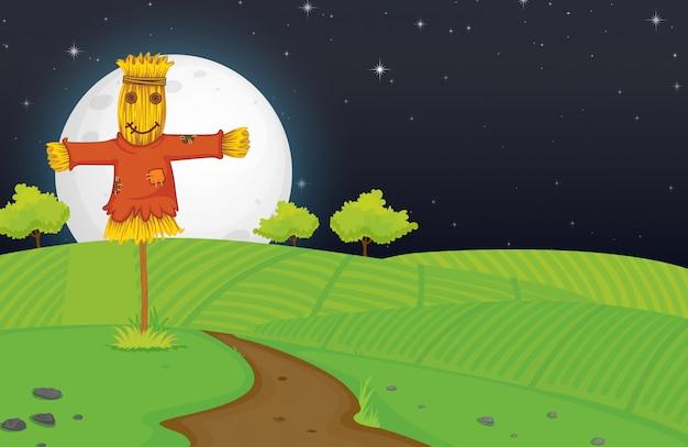 Ферма сцена с пугалом и большой луной ночью