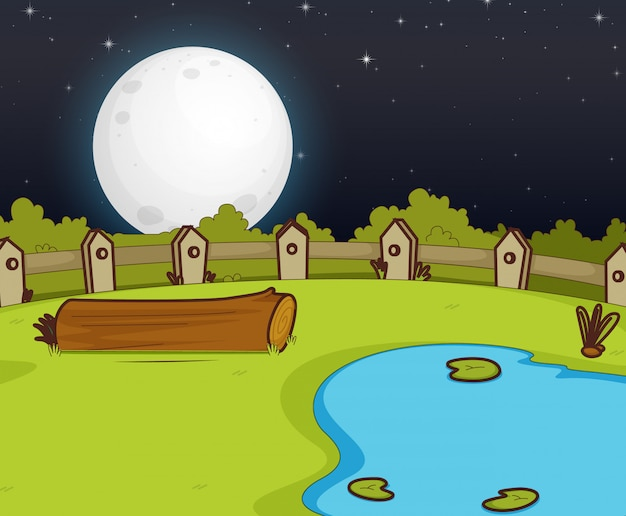 Farm scene with swamp and big moon at night