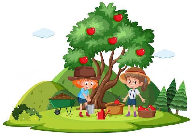 2人の女の子がりんごを描いている農場のシーン