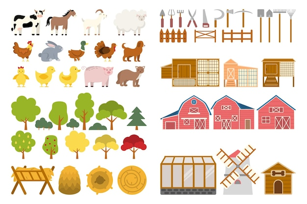 Farm set agriculture tools and utensils for growing plants and feeding animals