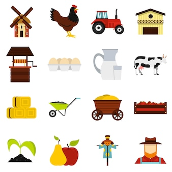 Farm set flat icons
