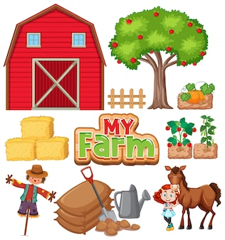 Farm set with barn and vegetables on white background