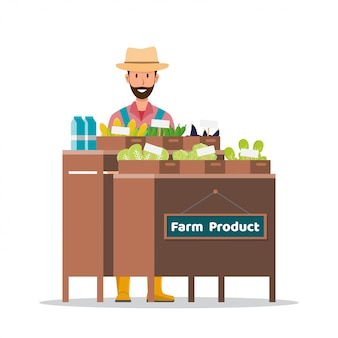 Farm shop. local market. selling fruit and vegetables