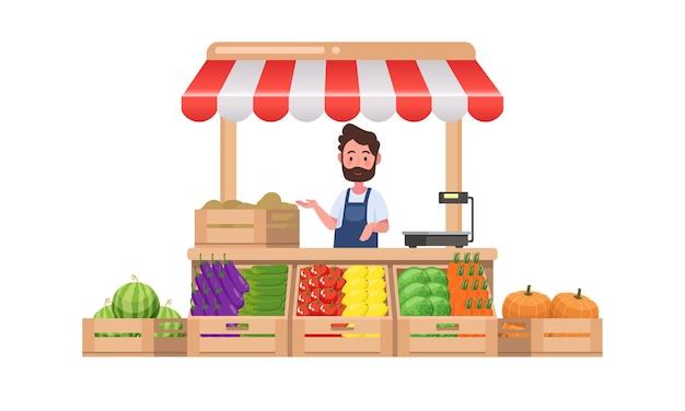 농장 가게. 현지 노점 시장. 야채 판매. 평면 그림. 흰색 배경에 고립.