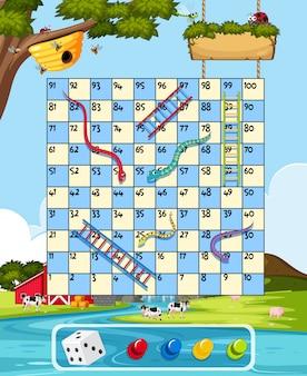 Farm snake ladder game